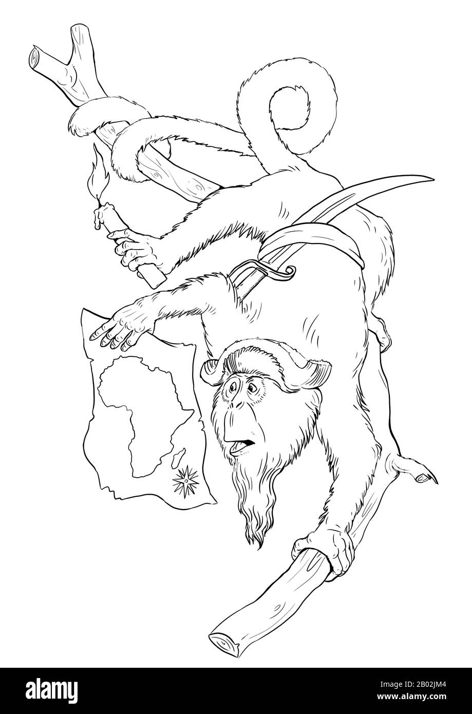 - Dabrazzas Monkey With Treasure Map Coloring Page. Outline Clipart