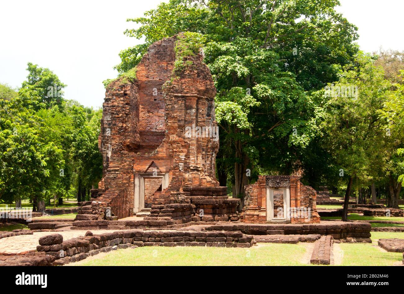 Si Thep, also Sri Thep, (7th – 14th century CE) is an ancient ruined town in Northeast Thailand. Many architectural structures still remain to indicate its past prosperity. It was once the centre of contact between the Dvaravati Kingdom in the central plain basin of Thailand and the Khmer Kingdom in the Northeast.  A twin- city, there were over one hundred ancient sites all built with bricks and laterite. There are also remains of several ponds spread out all over the area. Most of the ancient relics recovered are architectural by nature such as elaborate lintels and sema stones. A few of the Stock Photo