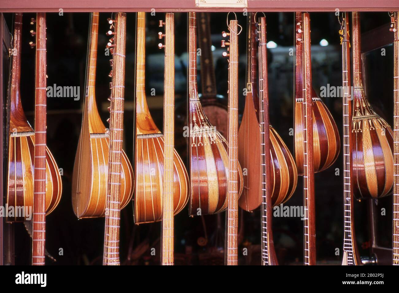 The dutar (also dotar or doutar) is a traditional long-necked two-stringed lute found in Iran and Central Asia. When played, the strings are usually plucked by the Uighurs of Western China and strummed and plucked by the Tajiks, Turkmen, and Uzbeks.  The earliest mention of Kashgar occurs when a Chinese Han Dynasty (206 BCE – 220 CE) envoy traveled the Northern Silk Road to explore lands to the west.  Another early mention of Kashgar is during the Former Han (also known as the Western Han Dynasty), when in 76 BCE the Chinese conquered the Xiongnu, Yutian (Khotan), Sulei (Kashgar), and a group Stock Photo