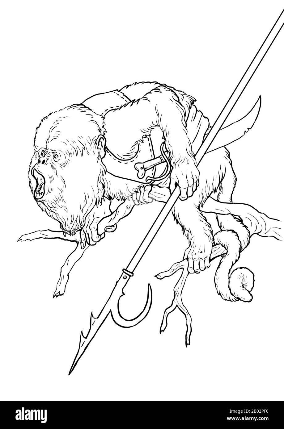 Howler Monkey Pirate Coloring Page Funny Outline Clipart Illustration Monkey And Apes Pirates Coloring Sheet Stock Photo Alamy