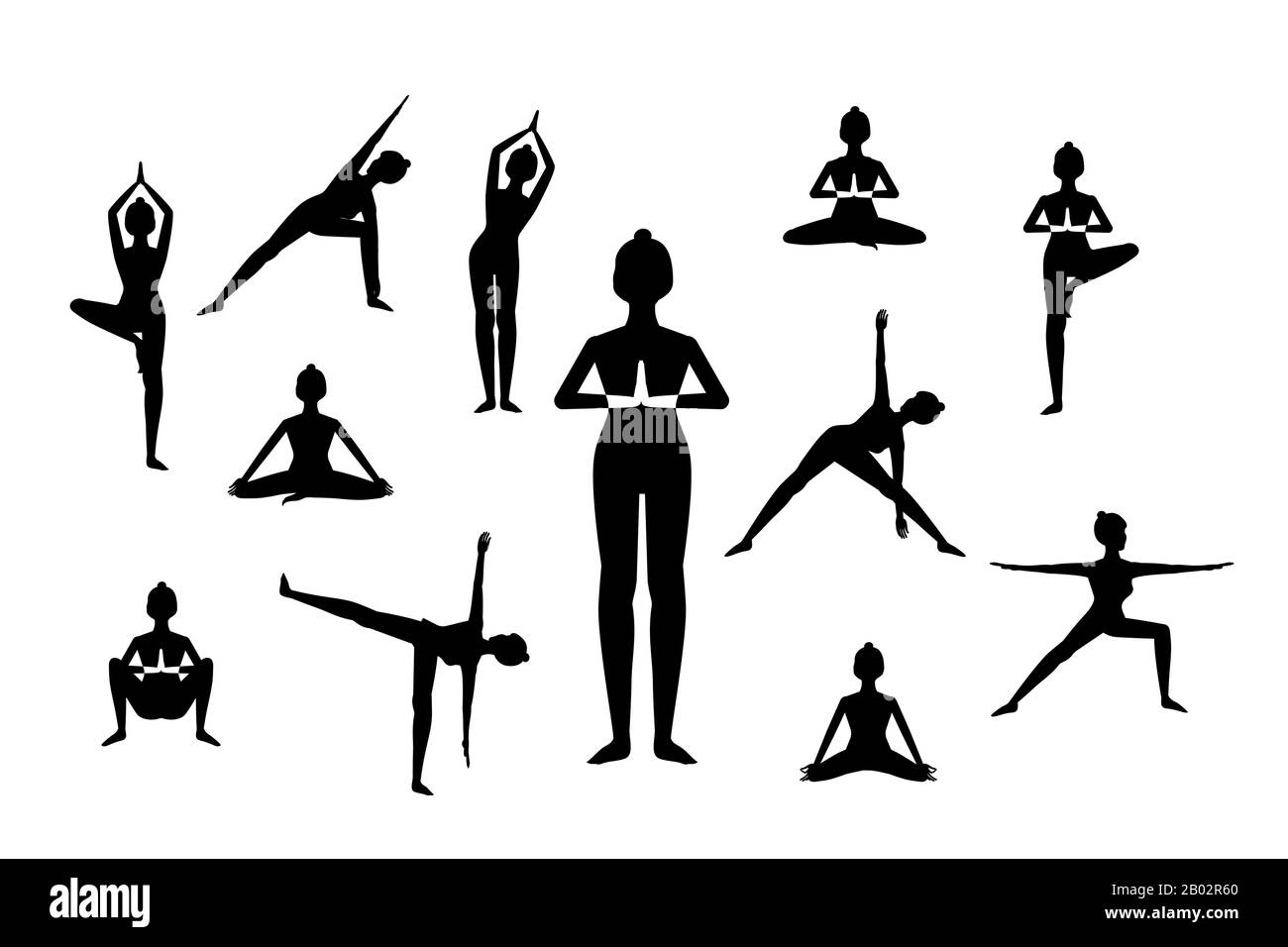 set of woman in different yoga poses, names of asanas text, flat ...