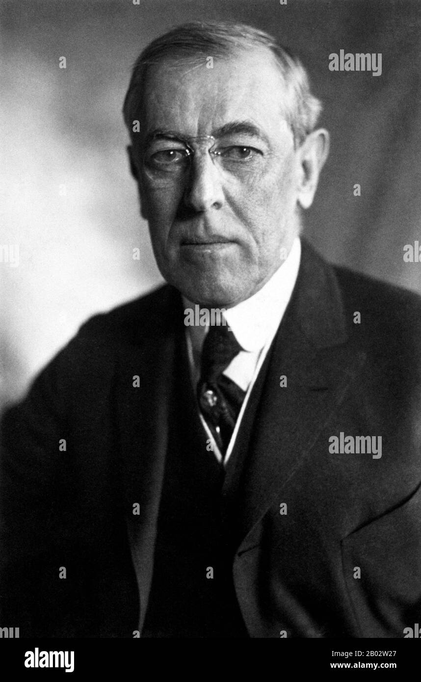 Thomas Woodrow Wilson (December 28, 1856 – February 3, 1924) was the 28th President of the United States from 1913 to 1921 and leader of the Progressive Movement. A Southerner with a PhD in political science, he served as President of Princeton University from 1902 to 1910. He was Governor of New Jersey from 1911 to 1913, and led his Democratic Party to win control of both the White House and Congress in 1912.  A devoted Presbyterian, Wilson infused a profound sense of moralism into his internationalism, now referred to as 'Wilsonian'—a contentious position in American foreign policy which obl Stock Photo