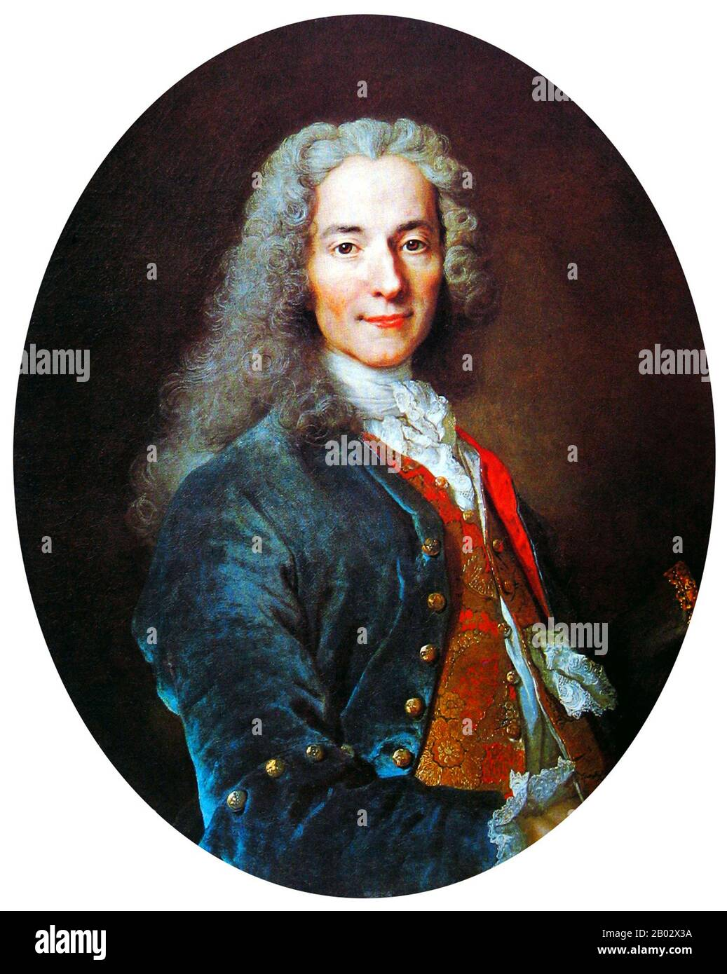 François-Marie Arouet (21 November 1694 – 30 May 1778), known by his nom de plume Voltaire, was a French Enlightenment writer, historian, and philosopher famous for his wit, his attacks on the established Catholic Church, and his advocacy of freedom of religion, freedom of expression, and separation of church and state.  Voltaire was a versatile writer, producing works in almost every literary form, including plays, poems, novels, essays, and historical and scientific works. He wrote more than 20,000 letters and more than 2,000 books and pamphlets. He was an outspoken advocate, despite the ris Stock Photo