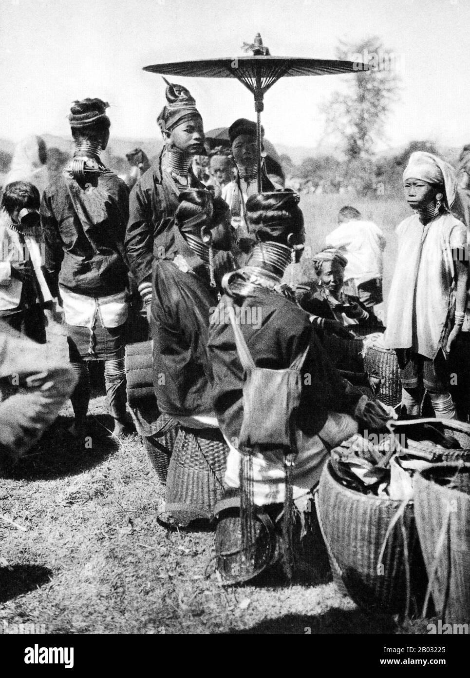 The Padaung or Kayan Lahwi or Long Necked Karen are a subgroup of the Kayan, a mix of Lawi, Kayan and several other tribes. Kayan are a subgroup of the Red Karen (Karenni) people, a Tibeto-Burman ethnic minority of Burma (Myanmar). Stock Photo