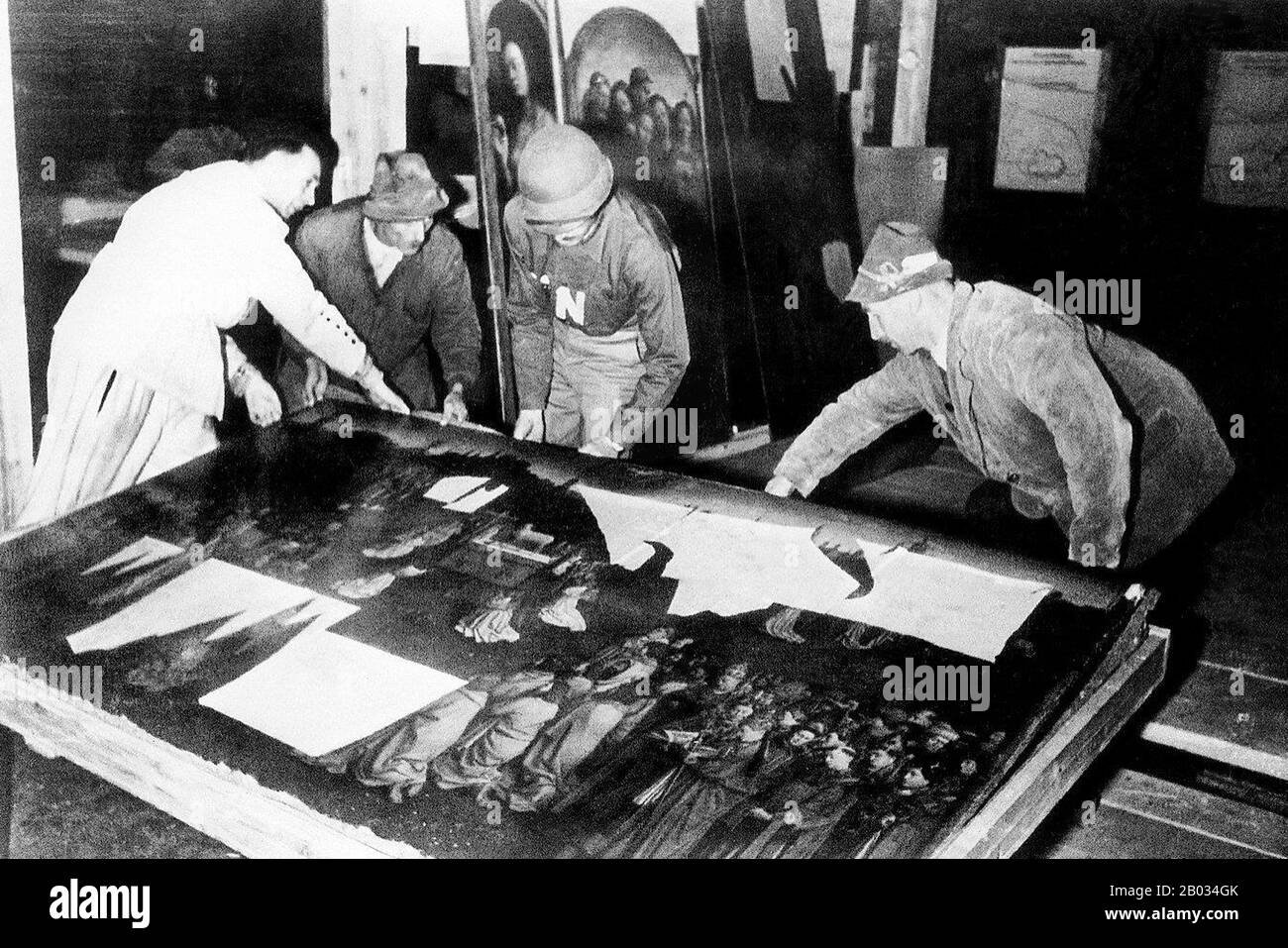 'Nazi plunder' refers to art theft and other items stolen as a result of the organized looting of European countries during the time of the Third Reich by agents acting on behalf of the ruling Nazi Party of Germany. Plundering occurred from 1933 until the end of World War II, although most plunder was acquired during the war. In addition to gold, silver and currency, cultural items of great significance were stolen, including paintings, ceramics, books, and religious treasures.  Although most of these items were recovered by agents of the Monuments, Fine Arts, and Archives program (MFAA), affe Stock Photo