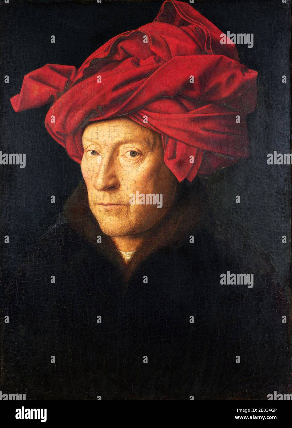 Jan van Eyck was an Early Netherlandish painter active in Bruges and one of the most significant Northern Renaissance artists of the 15th century.  In addition to the Ghent Altarpiece and the illuminated miniatures of the Turin-Milan Hours, about 20 surviving paintings are confidently attributed to him, all dated between 1432 and 1439. Stock Photo