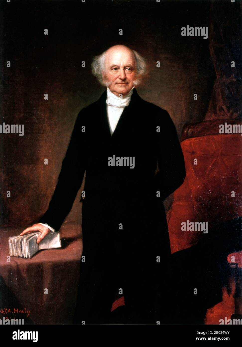 Martin Van Buren ( December 5, 1782 – July 24, 1862) was an American politician who served as the eighth President of the United States (1837–41).  A member of the Democratic Party, he served in a number of senior roles, including eighth Vice President (1833–37) and tenth Secretary of State (1829–31), both under Andrew Jackson. Stock Photo