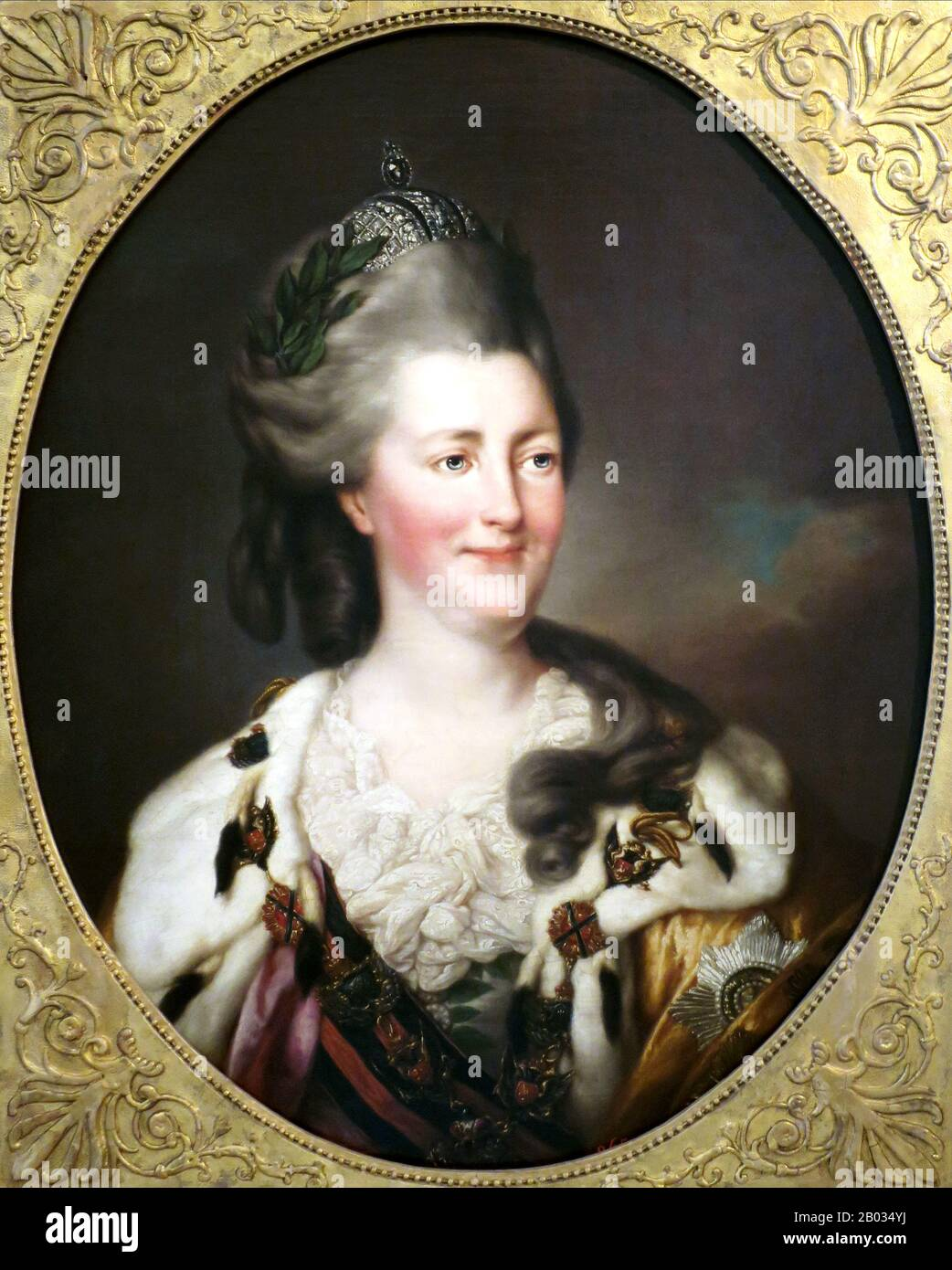Catherine II of Russia (Russian: Yekaterina Alekseyevna, 2 May 1729 – 17 November 1796), was the most renowned and the longest-ruling female ruler of Russia, reigning from 1762 until her death in 1796 at the age of 67.  Born in Stettin, Pomerania, Prussia as Sophie Friederike Auguste von Anhalt-Zerbst-Dornburg, she came to power following a coup d'état when her husband, Peter III, was assassinated. Russia was revitalised under her reign, growing larger and stronger than ever and becoming recognised as one of the great powers of Europe. Stock Photo