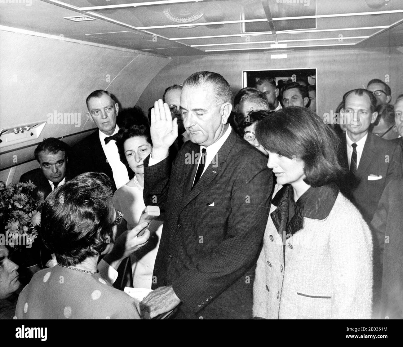 Lyndon Baines Johnson (August 27, 1908 – January 22, 1973), often referred to as LBJ, was the 36th President of the United States (1963–1969) after his service as the 37th Vice President of the United States (1961–1963). He is one of only four people who served in all four elected federal offices of the United States: Representative, Senator, Vice President and President.   Johnson, a Democrat, served as a United States Representative from Texas, from 1937–1949 and as United States Senator from 1949–1961, including six years as United States Senate Majority Leader, two as Senate Minority Leade Stock Photo