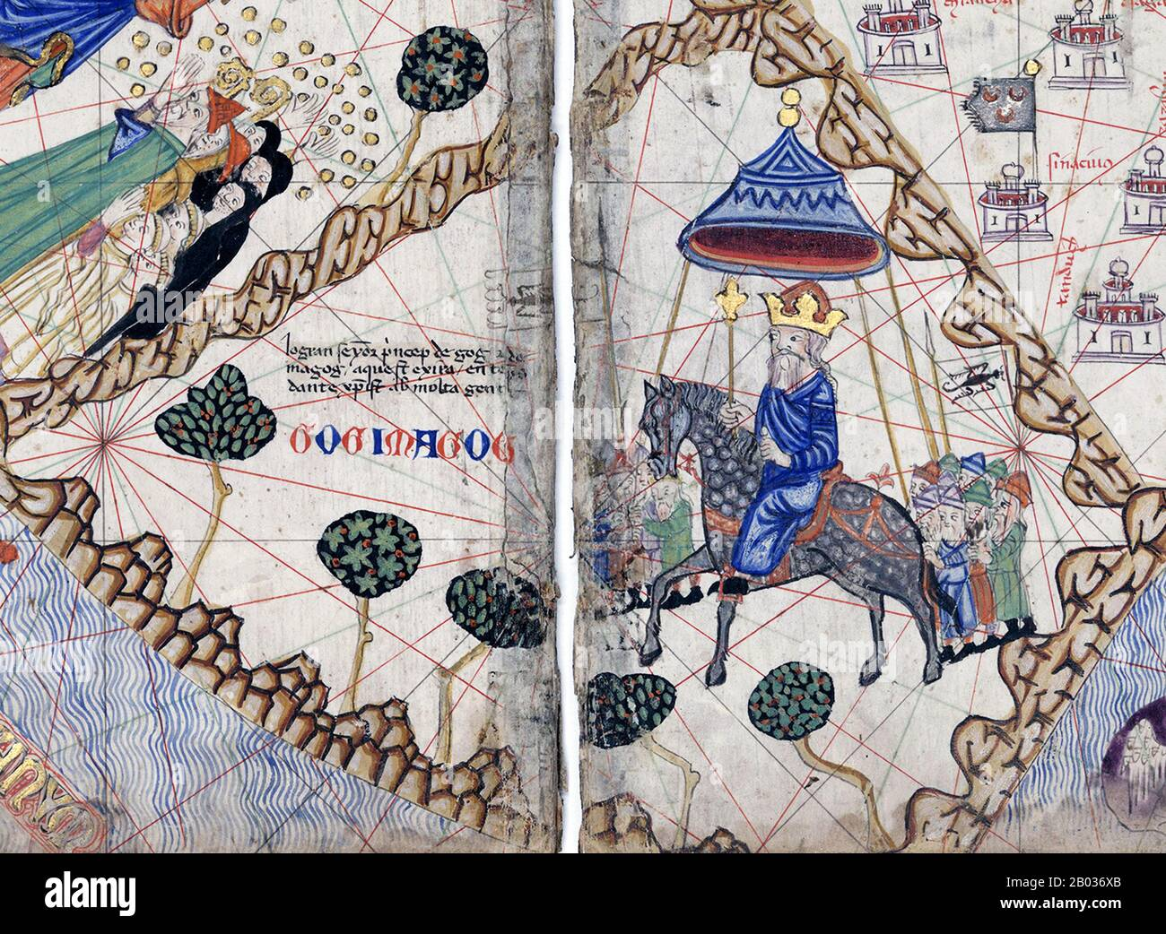 The Catalan Atlas (1375) is the most important Catalan map of the medieval period. It was produced by the Majorcan cartographic school and is attributed to Cresques Abraham, a Jewish book illuminator who was self-described as being a master of the maps of the world as well as compasses. It has been in the royal library of France (now the Bibliotheque nationale de France) since the late 14th century.  The 1st century Jewish historian Josephus identified the Gog and Magog people as Scythians, horse-riding barbarians from around the Don and the Sea of Azov. Josephus recounts the tradition that Go Stock Photo