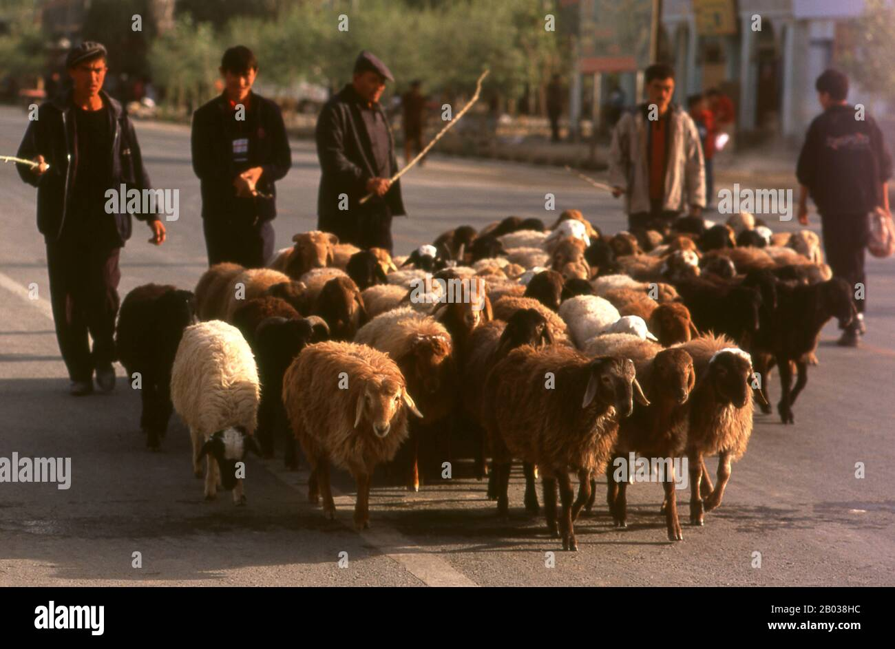 The earliest mention of Kashgar occurs when a Chinese Han Dynasty (206 BCE – 220 CE) envoy traveled the Northern Silk Road to explore lands to the west.  Another early mention of Kashgar is during the Former Han (also known as the Western Han Dynasty), when in 76 BCE the Chinese conquered the Xiongnu, Yutian (Khotan), Sulei (Kashgar), and a group of states in the Tarim basin almost up to the foot of the Tian Shan mountains.  Ptolemy spoke of Scythia beyond the Imaus, which is in a 'Kasia Regio', probably exhibiting the name from which Kashgar is formed.  The country's people practised Zoroastr Stock Photo