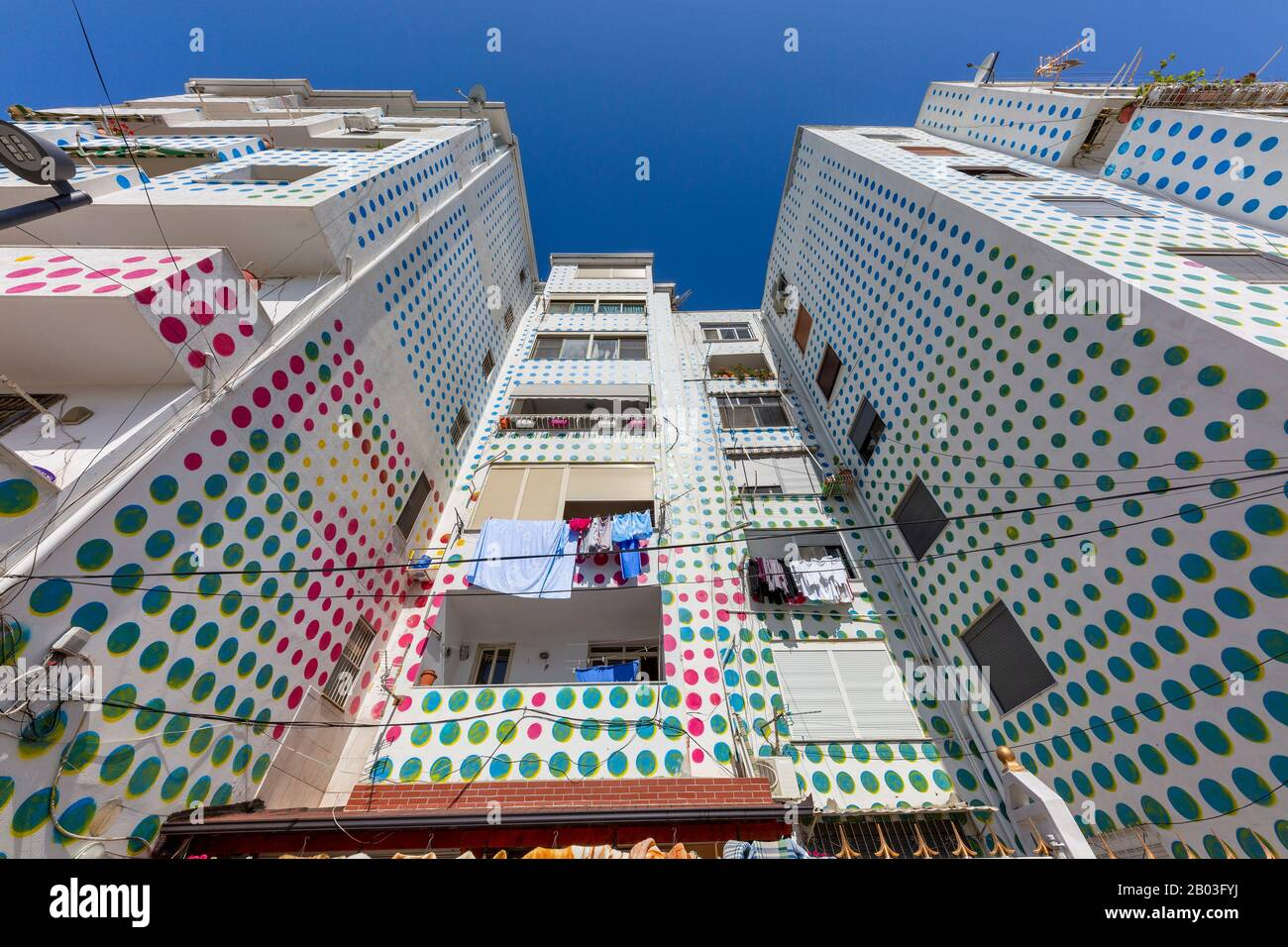 Colorfully decorated apartment building in Albania Stock Photo