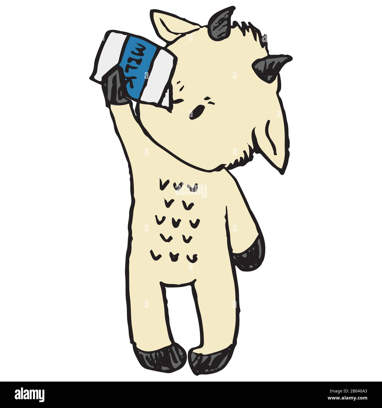 Cute funny goat drinking milk in naive style vector ...