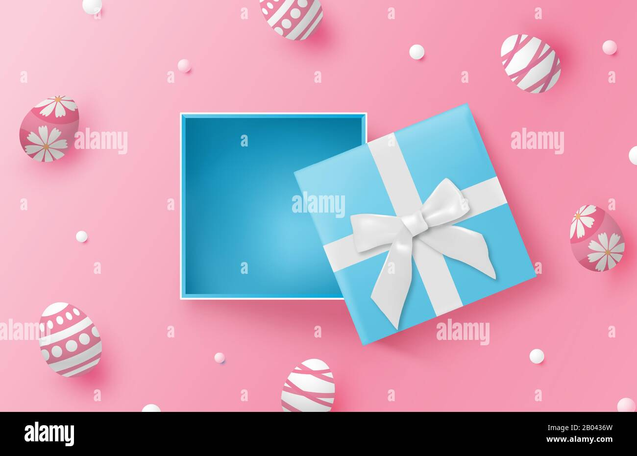 Happy Easter Day Background With Easter Eggs And Blue Gift Box On
