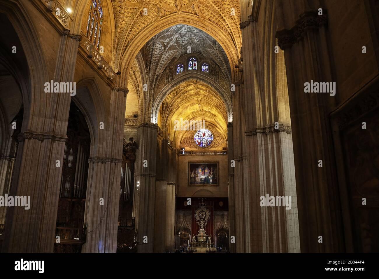 Interior of Seville Cathedral (Catedral de Santa María de la Sede) Stock Photo