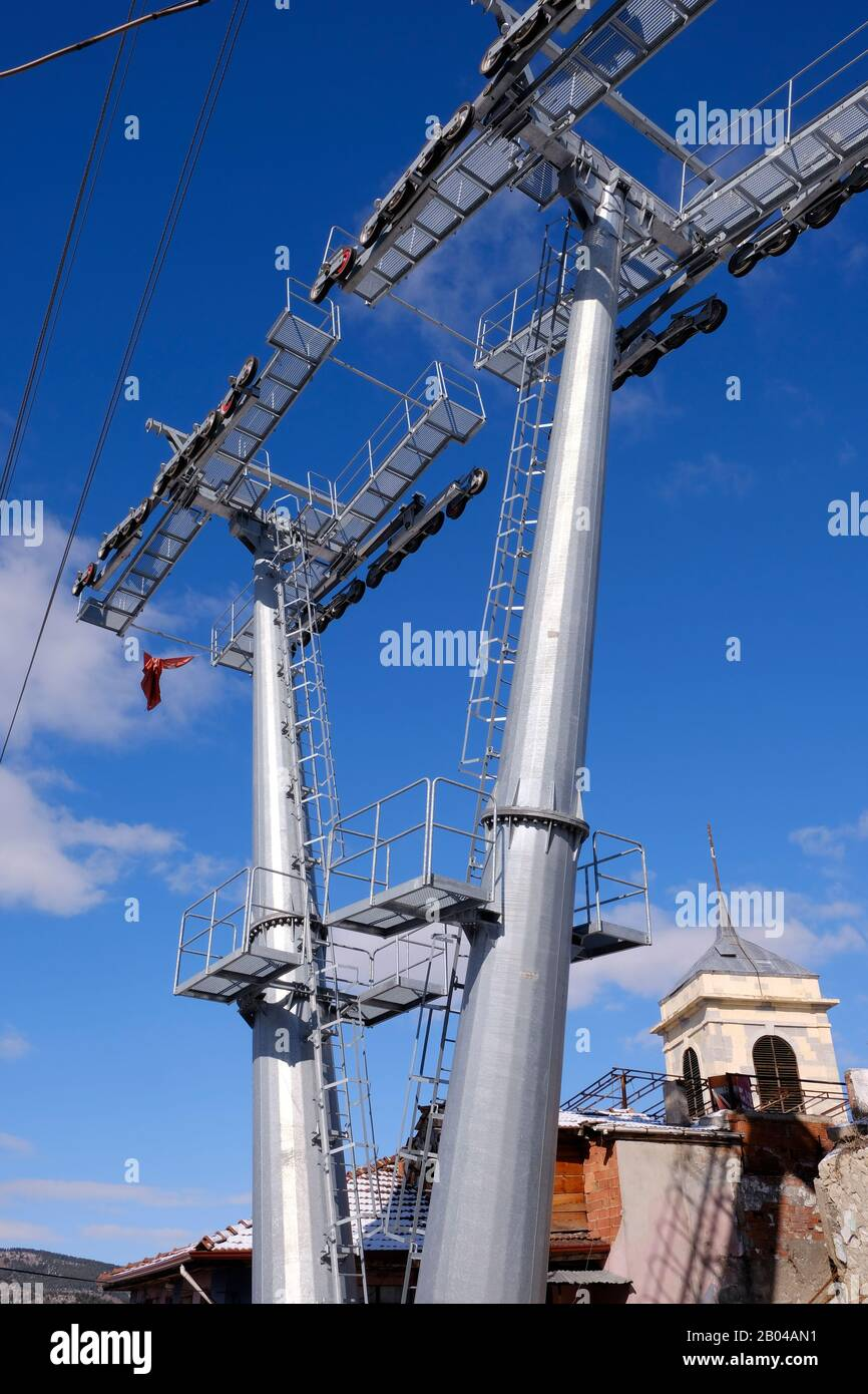 Carrier parts of the cable car under construction in Kastamonu Clock Tower Stock Photo