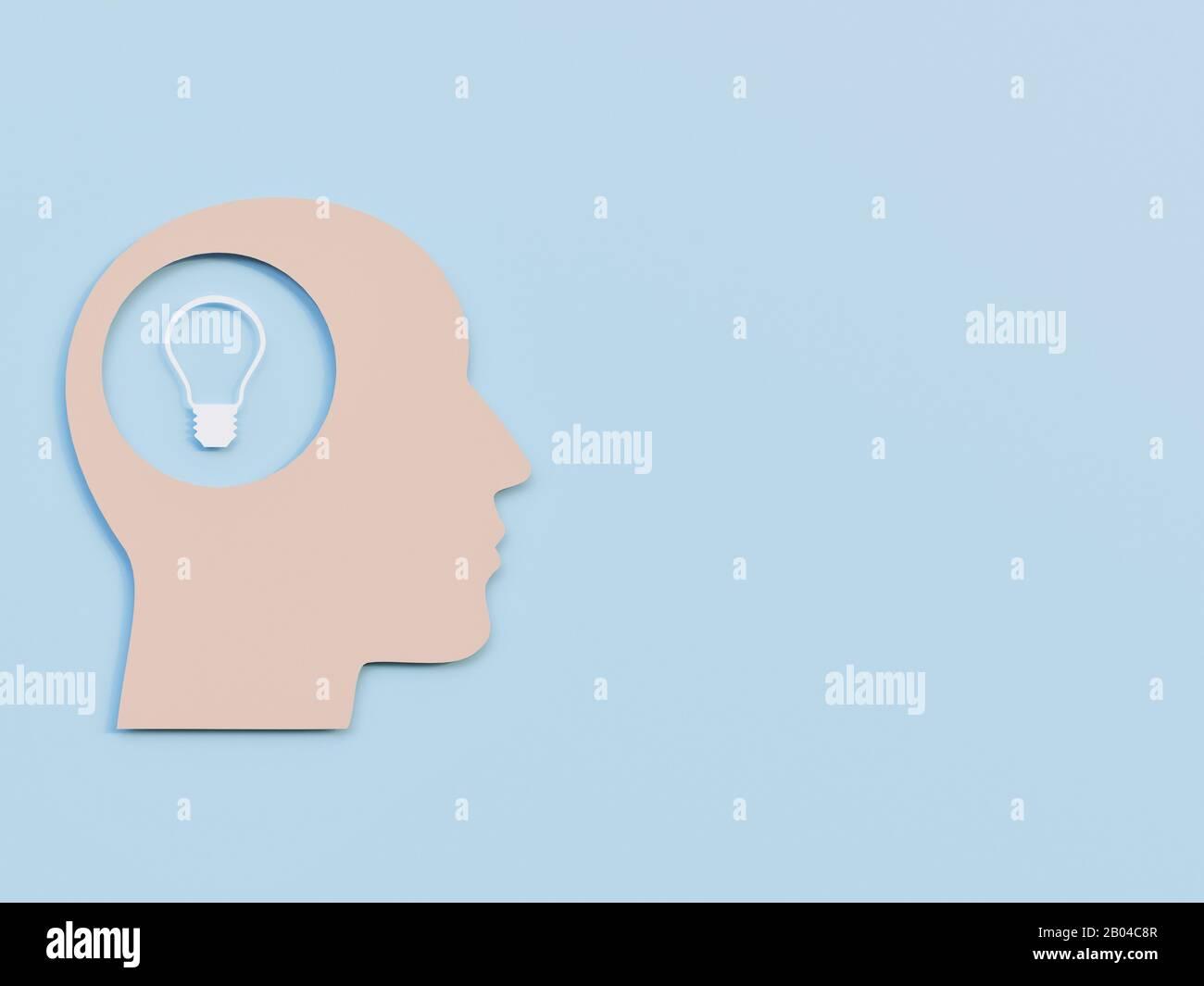 Men Head with Light bulb symbolizing an idea minimalism Cut Art Paper - 3D Rendering Concept Stock Photo