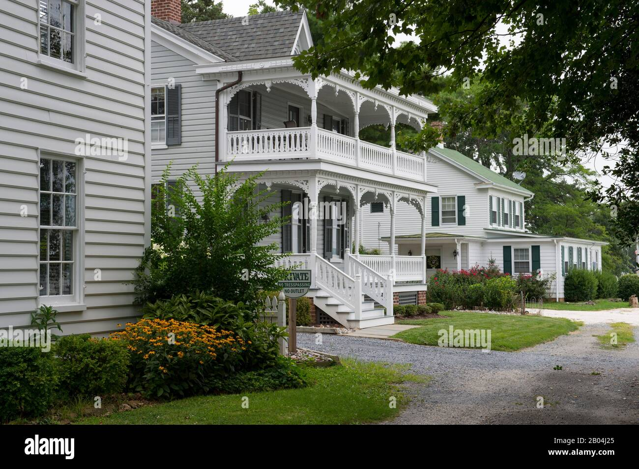 Historic houses at Navy Point in St. Michaels, a historic town in Maryland, USA, situated on Chesapeake Bay. Stock Photo