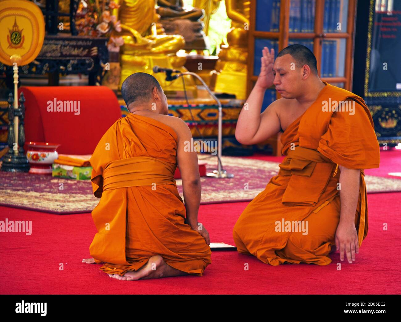 buddhistical monksin the temple of Wat Kajorn Rangsan, Thailand, Phuket Stock Photo