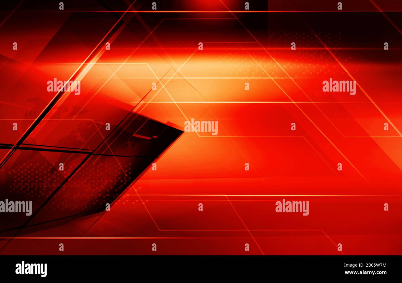 Graphical red theme abstract background with highlighted edge lines Stock Photo
