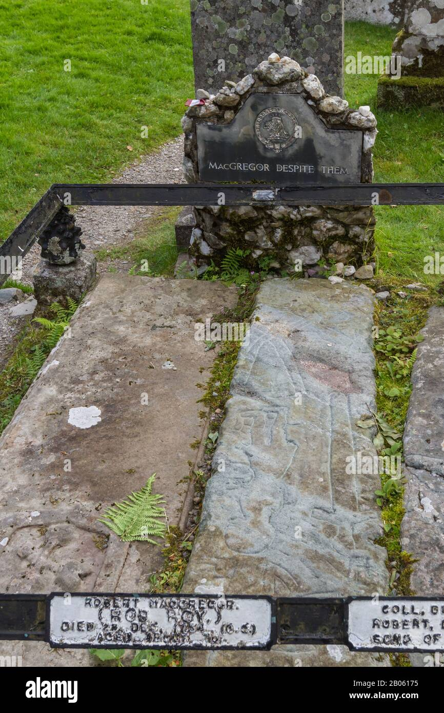 Balquhidder, Scotland  - September 17 2019: Graves of Rob Roy MacGregor, his wife Mary and his sons Coll and Robin, UK September 17, 2019 Stock Photo