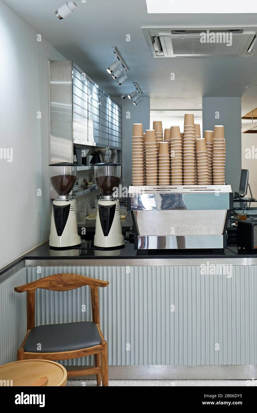 Interior Counter Bar Design And Decoration Of White Coffee Bar Stock Photo Alamy