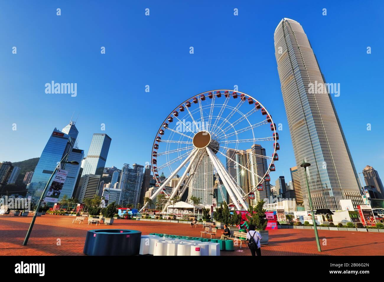 Hong Kong, China- October 16, 2019: skyline with International Finance Centre and Observation Wheel in the financial district of Hong Kong on a sunny Stock Photo