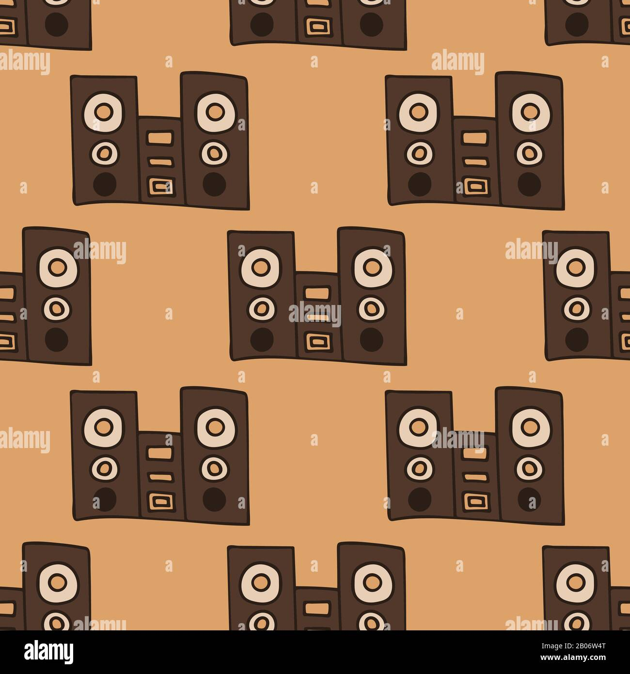 speakers with subwoofer. music system. seamless pattern stock vector illustration Stock Vector