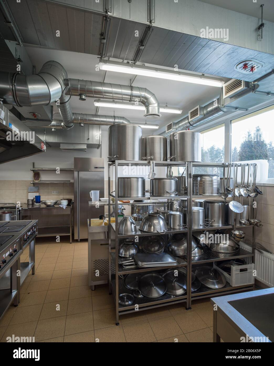Restaurant Kitchen Equipment Stainless Steel Pots On The Shelves Ventilation System Stock Photo Alamy