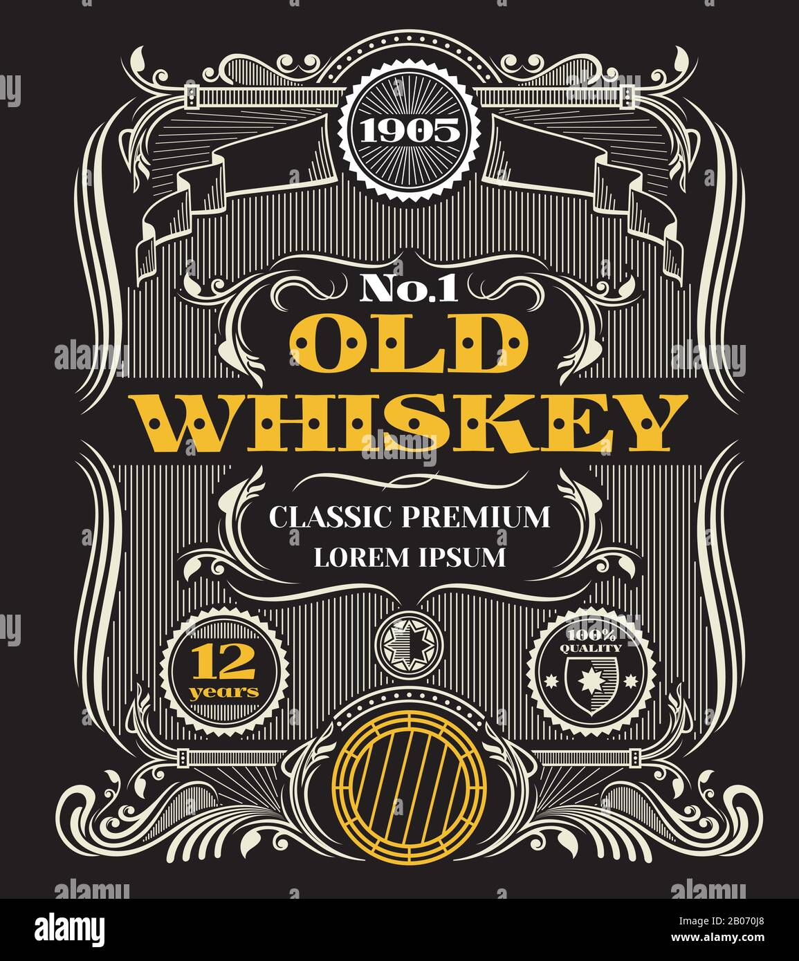 Vintage Whiskey Label High Resolution Stock Photography and Images In Blank Jack Daniels Label Template
