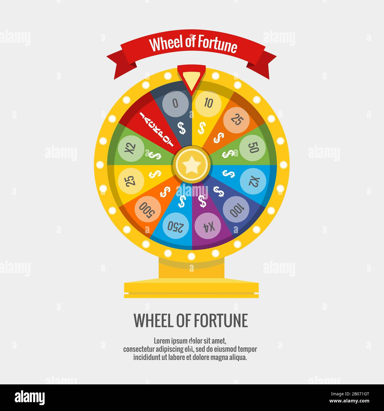Fortune Spinning Wheel In Flat Vector Style Gambling Concept Win