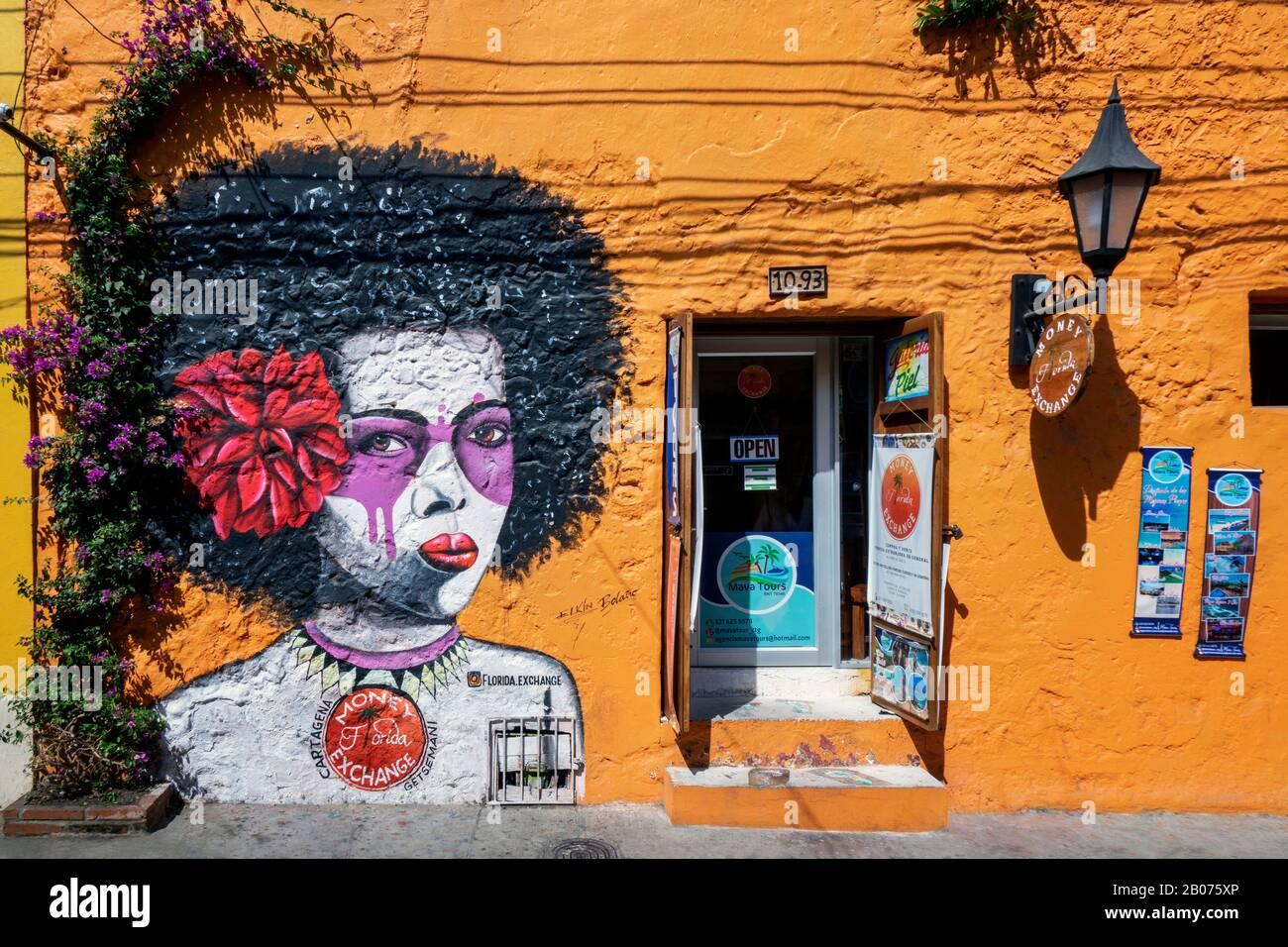 Cartagena, Colombia - January 23, 2020: Street art in Getsemani from Cartagena, Colombia, South America Stock Photo