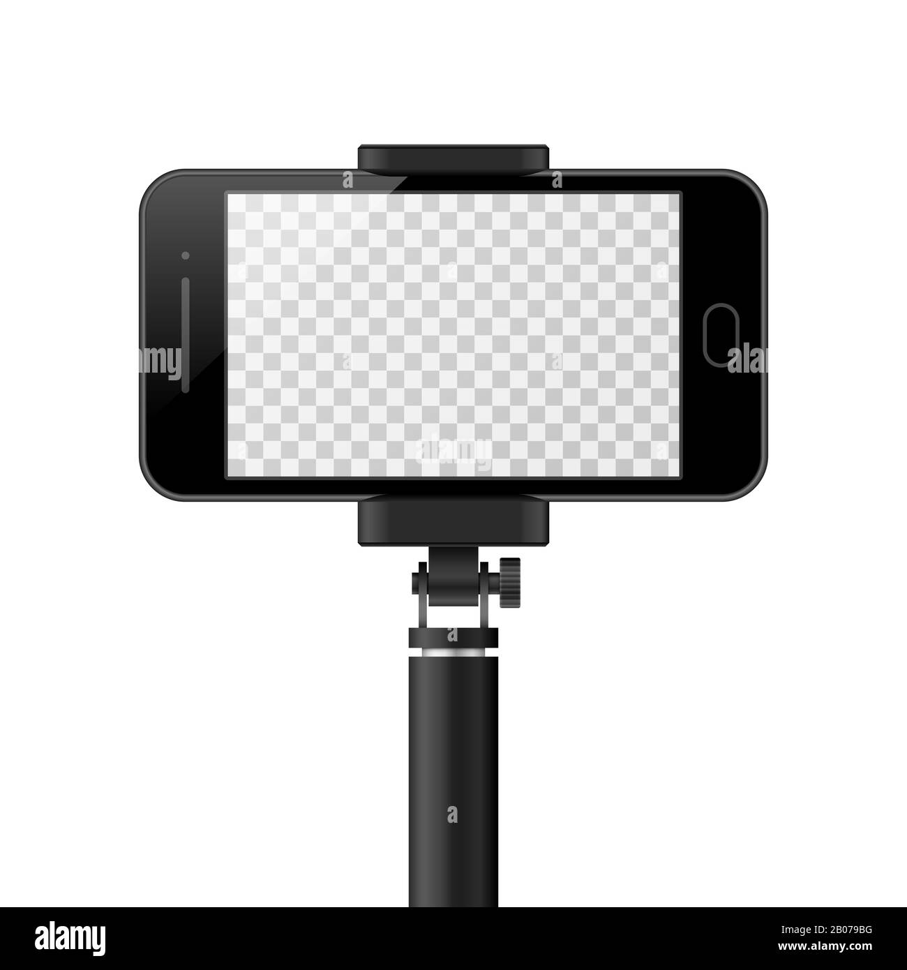 Smartphone Vector Template With Empty Screen And Monopod Selfie
