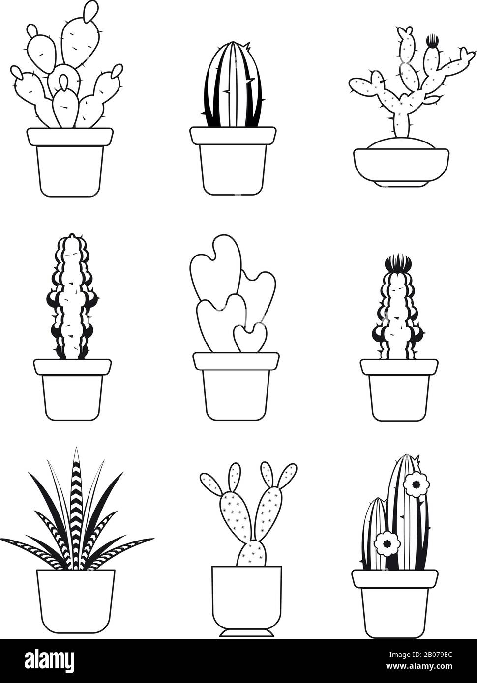 Vector Hand Drawn Outline Cactus Desert Thorn Tree Set Tropical Plant With Needle Illustration Stock Vector Image Art Alamy