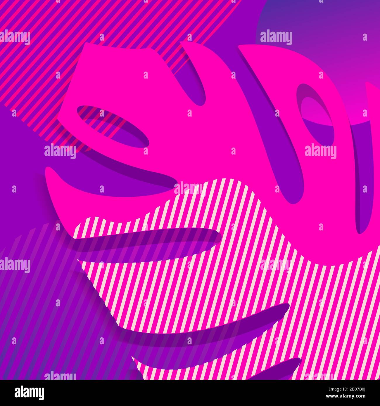 Monstera leaf in trendy pink and purple colors Stock Vector