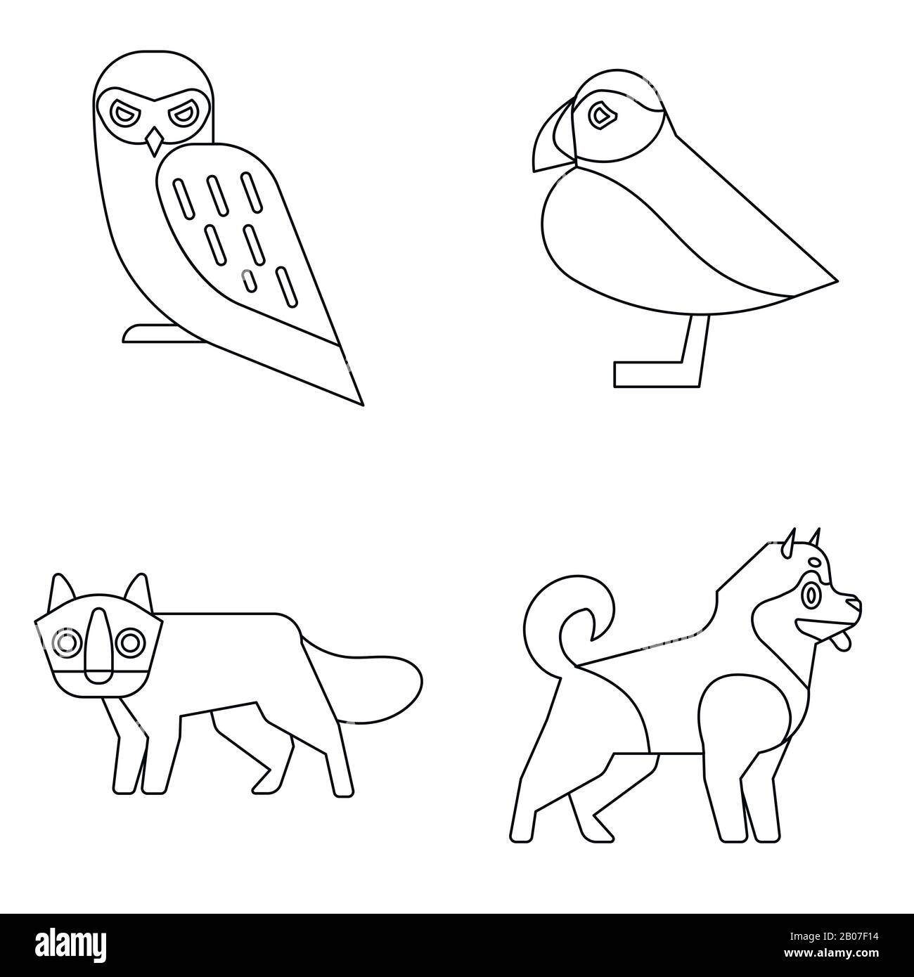 Polar animals in line style on white background. Wild animals owl and the fox. Vector illustration Stock Vector