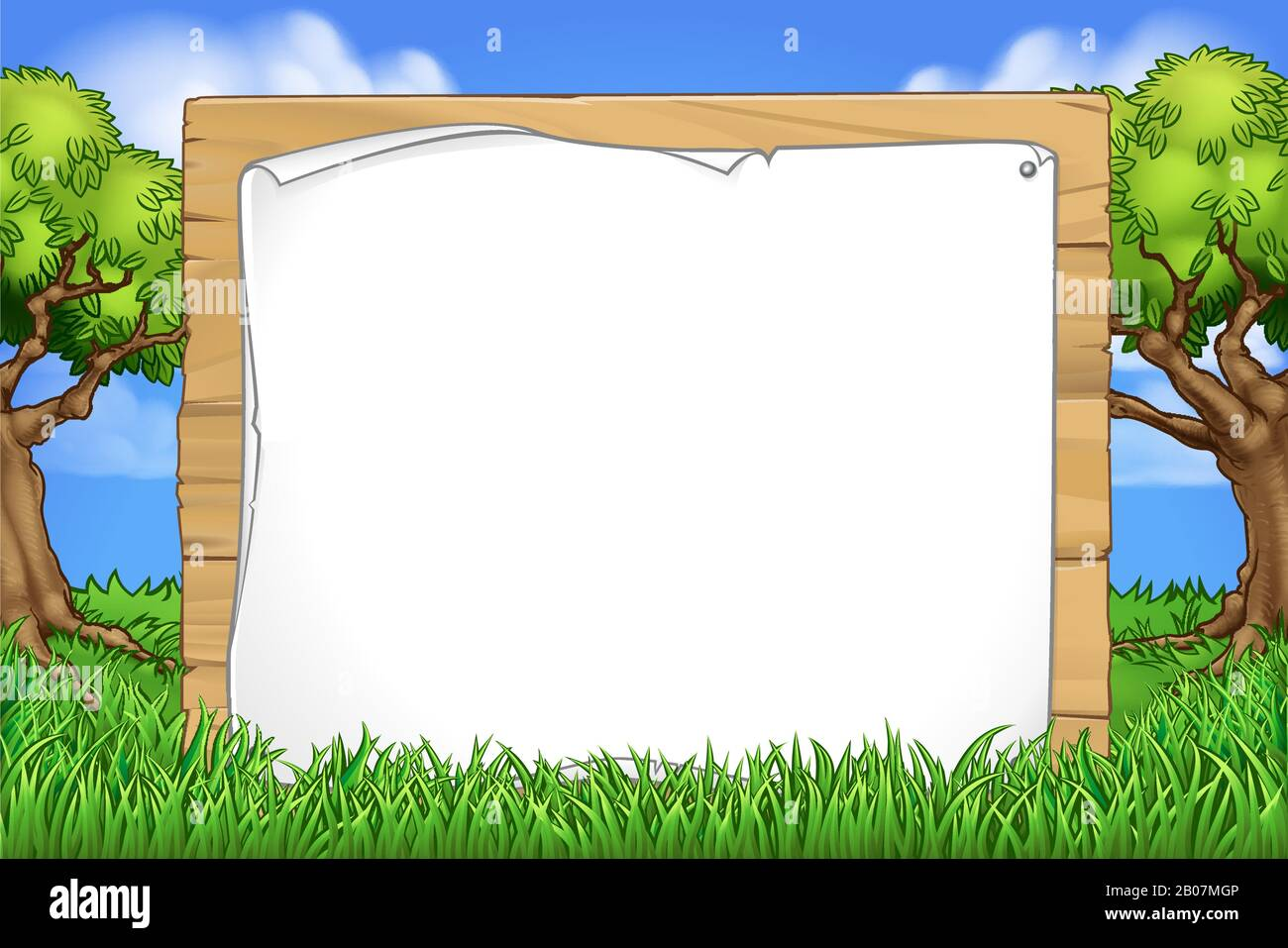 Cartoon Background Wooden Sign Park Forest Stock Vector Image Art Alamy