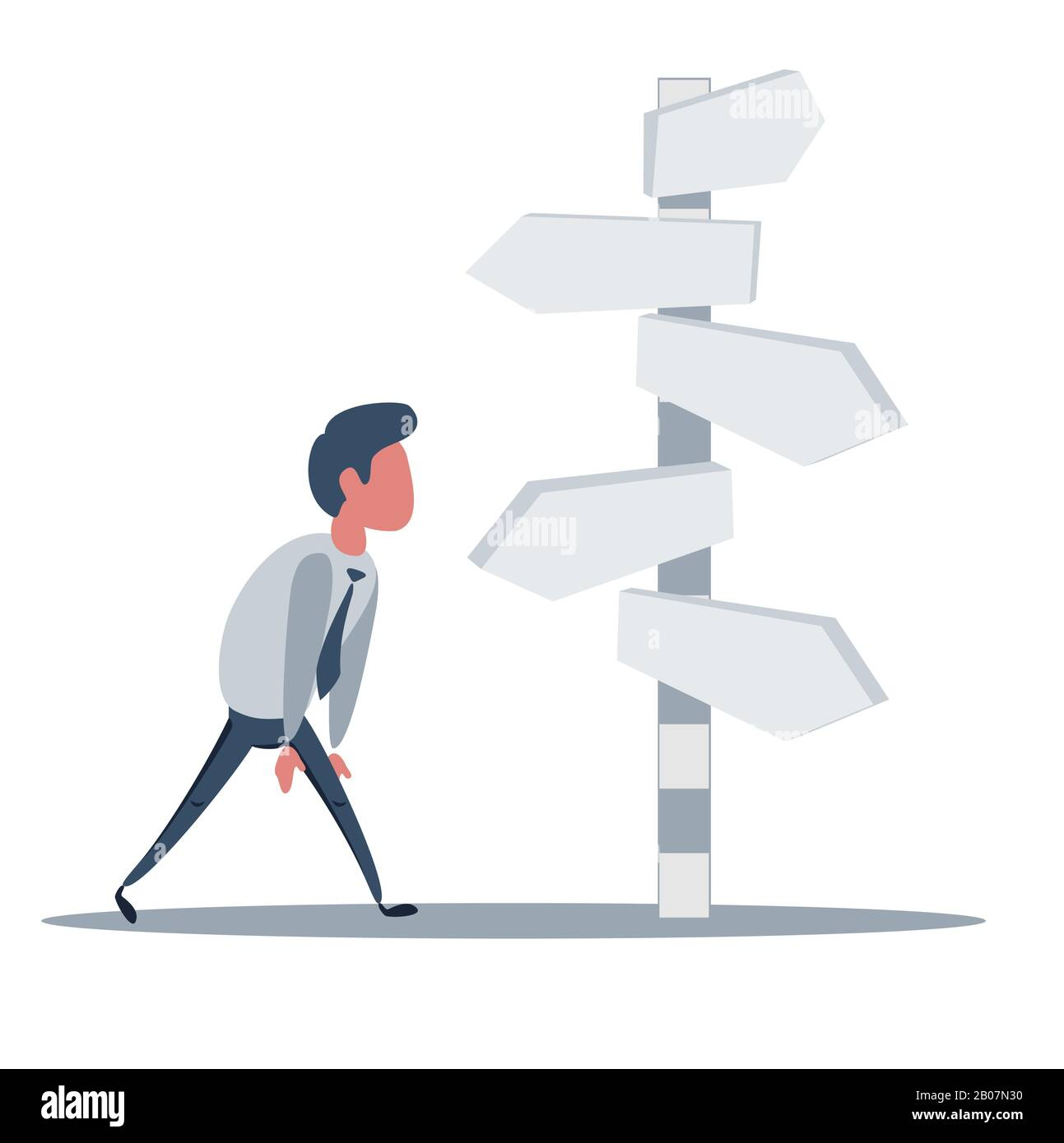 Businessman is looking at direction signs. Choices and decision concept. Stock Vector