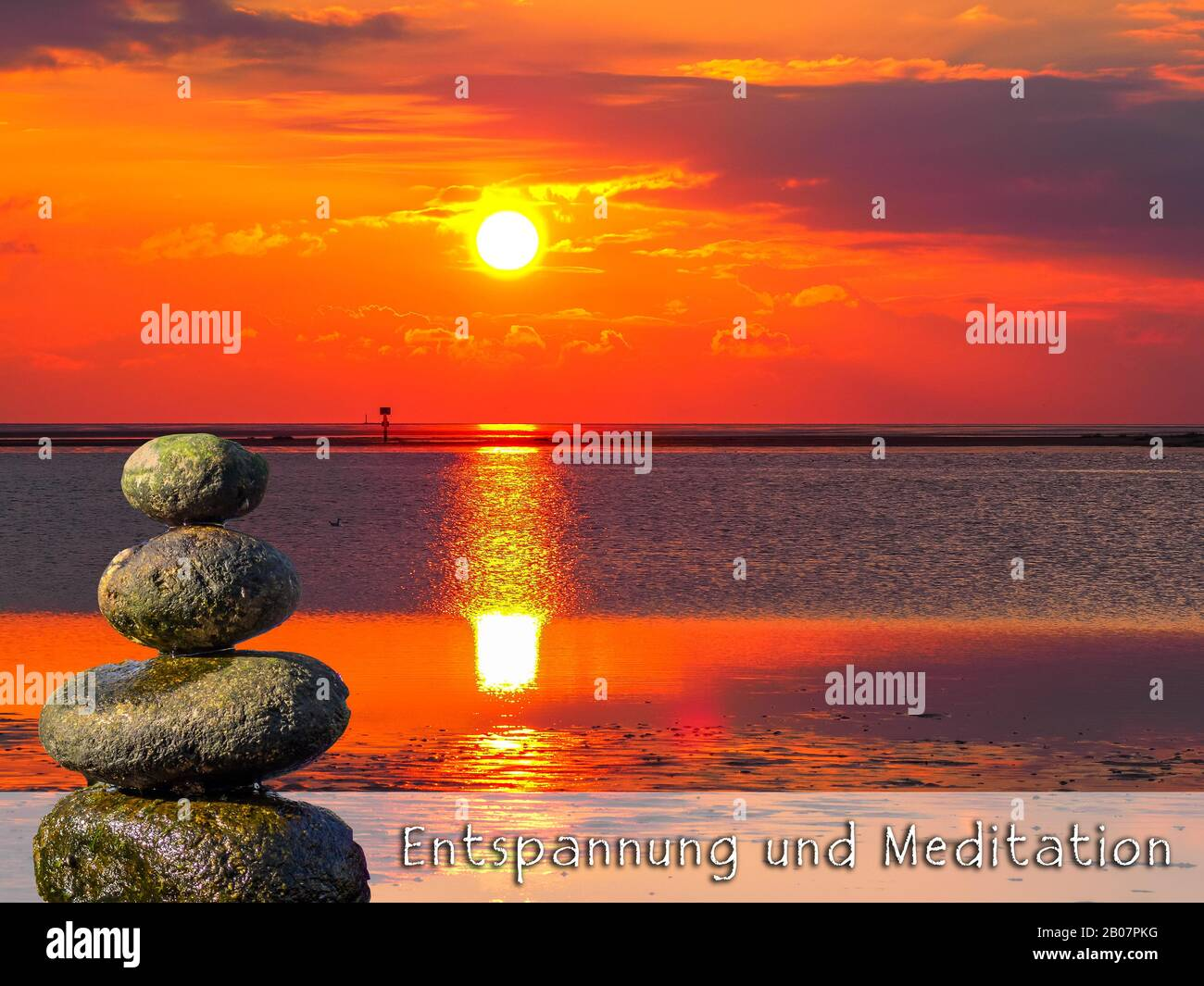 Relaxation And Meditation Banner Template In German Stock Photo Alamy