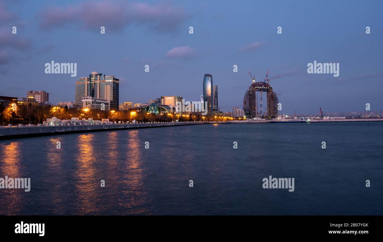Baku, Azerbaijan 27 January 2020 - Night view of Baku Stock Photo