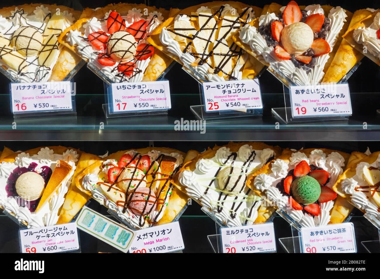Japan Honshu Tokyo Harajuku Takeshita Dori Crepe Shop Window Display Of Plastic Crepes Stock Photo Alamy