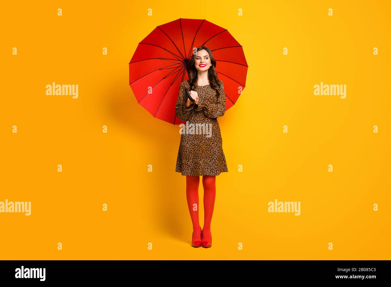 Full length body size view of her she nice-looking attractive lovely pretty charming cheerful cheery wavy-haired girl using umbrella isolated on Stock Photo
