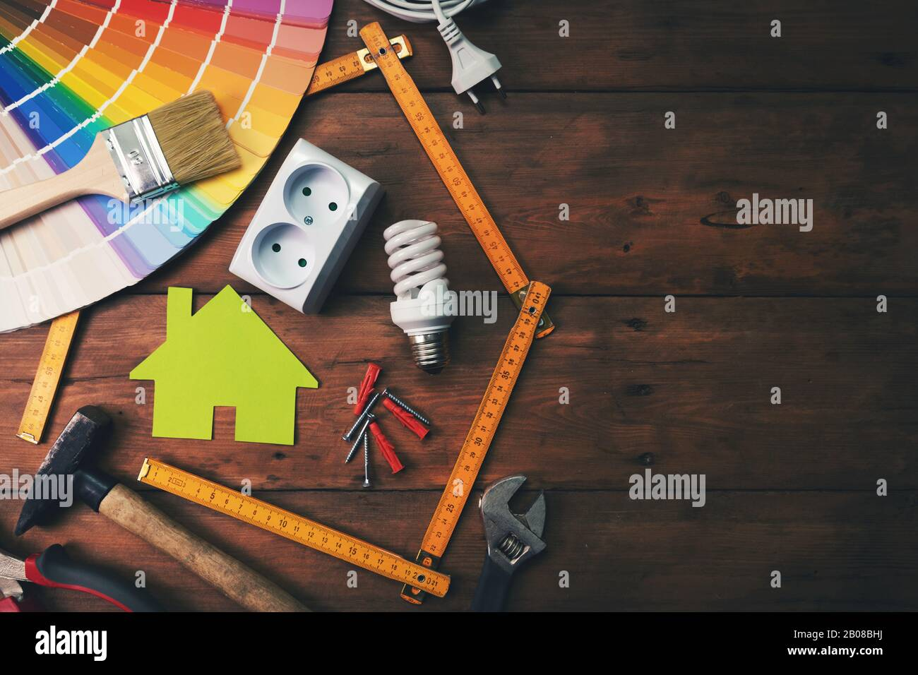 home improvement and repair concept - work tools and objects on wooden table. top view copy space Stock Photo
