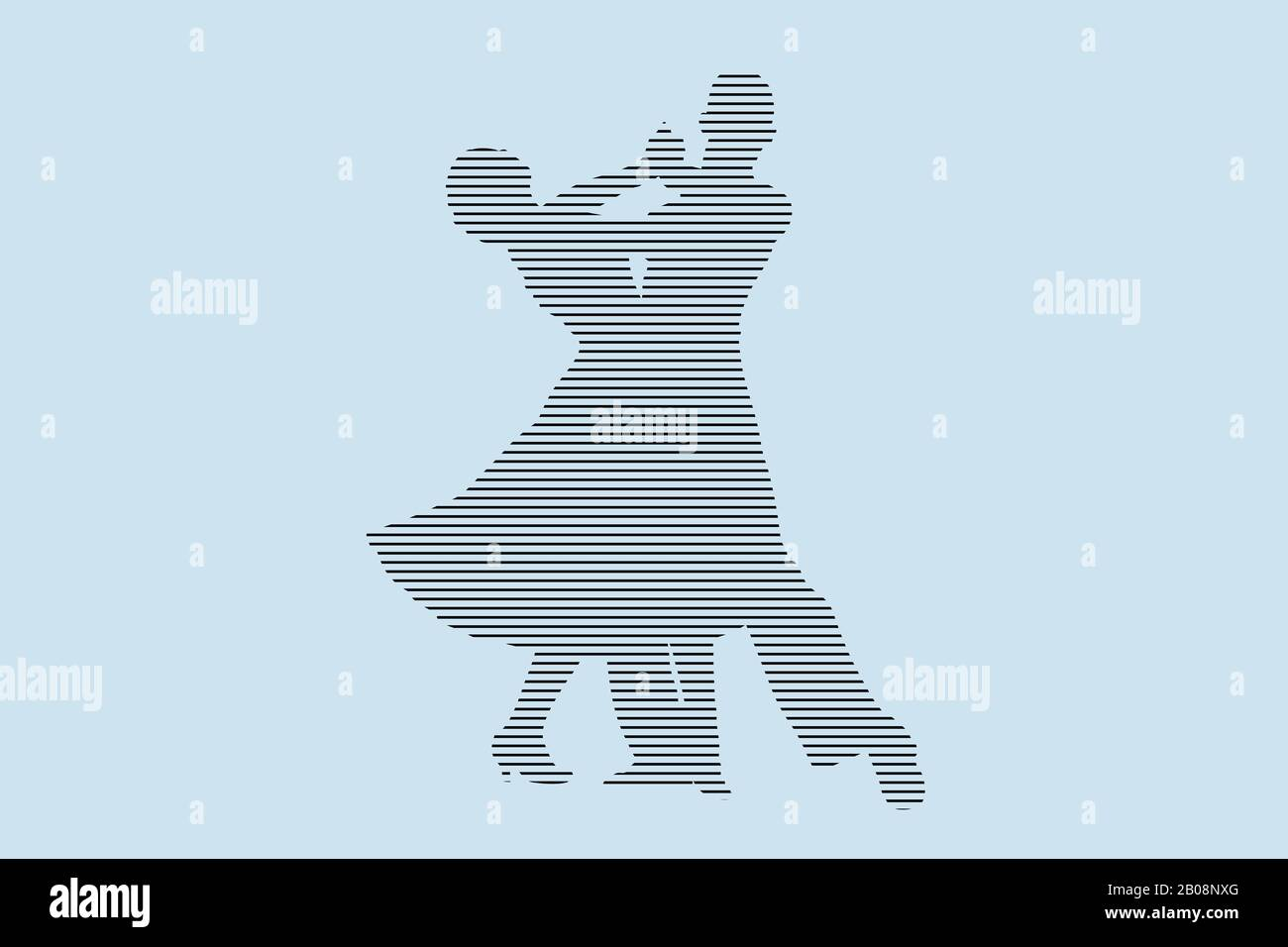 ballroom dancing partner dancers silhouette in black lines on blue background Stock Photo