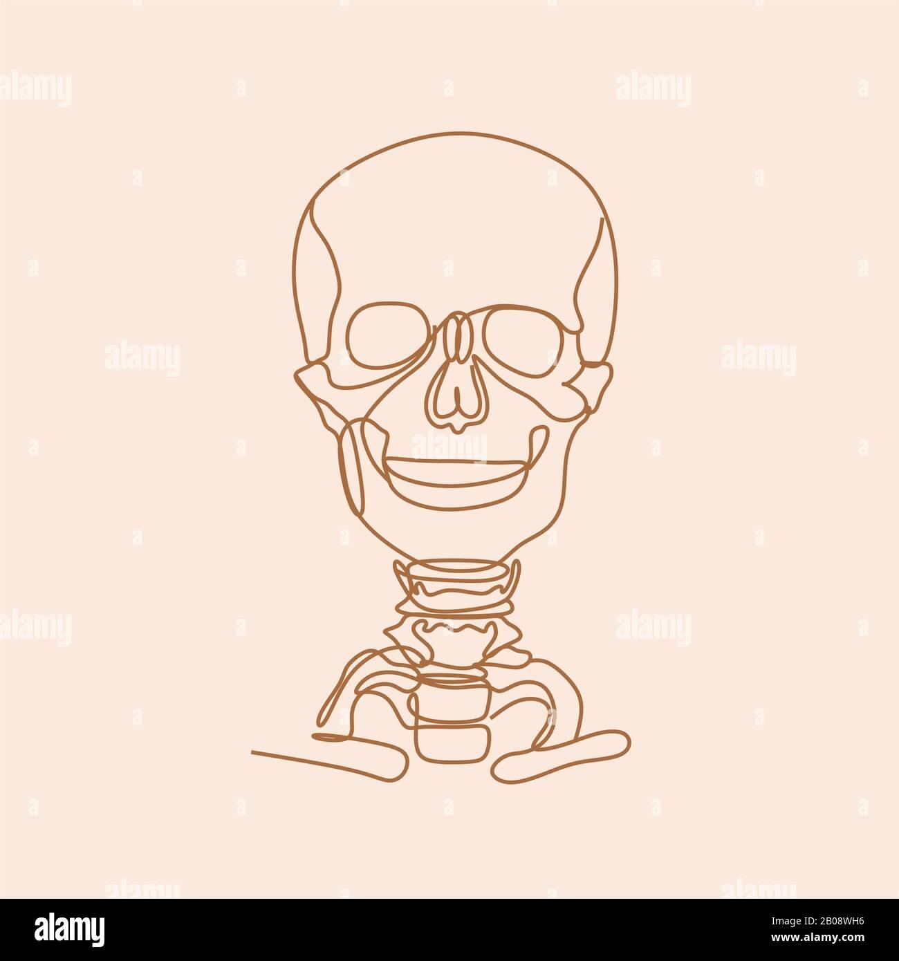 Skull Line Illustration Line Art People Body Minimalist Medical Print Stock Photo Alamy