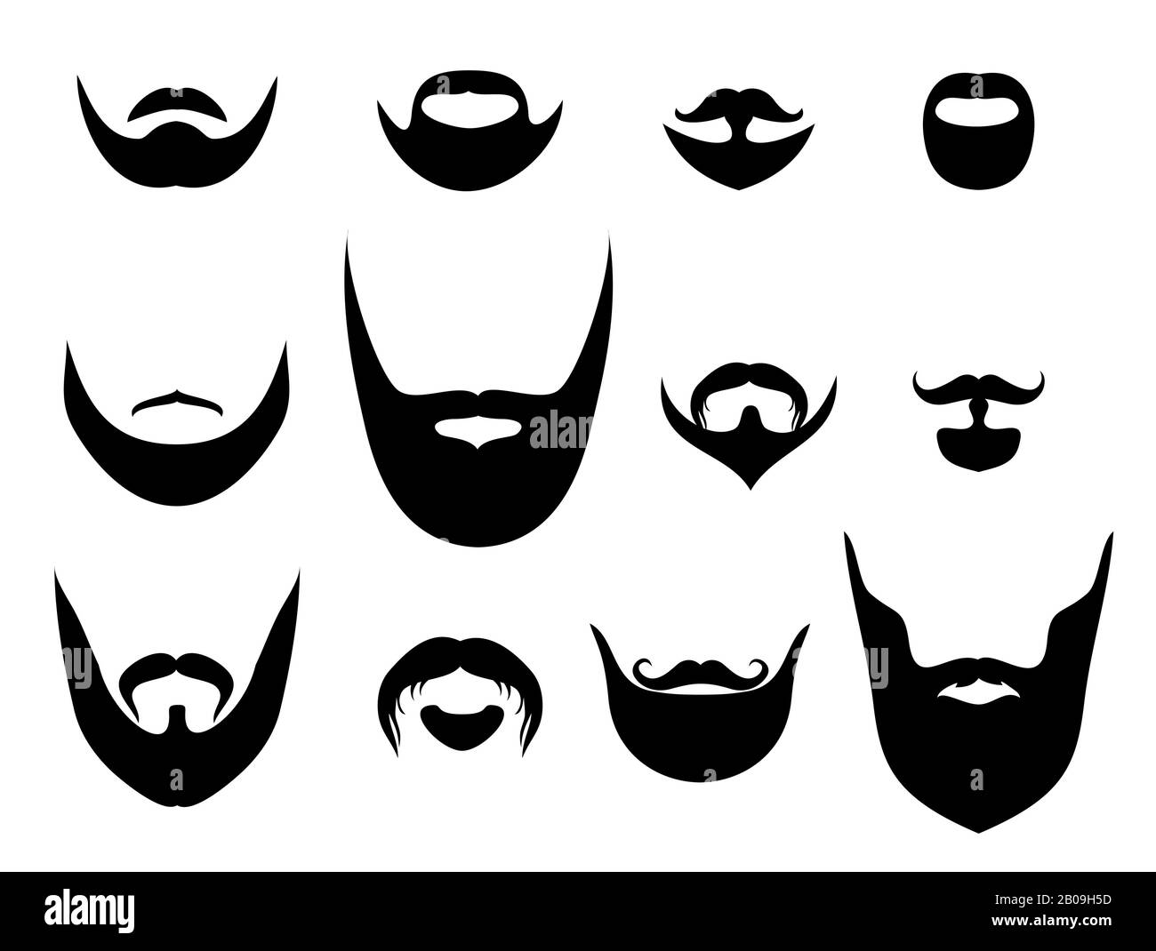 Awe Inspiring Men Vector Silhouette Shapes Of Beards And Mustaches Hair On Face Natural Hairstyles Runnerswayorg