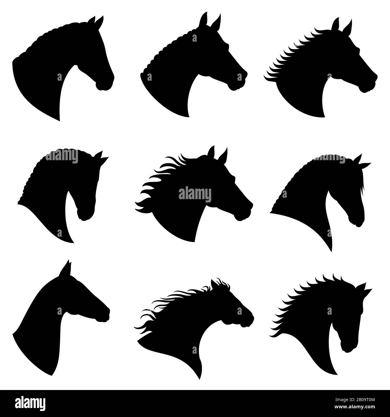 Horse Head Vector Silhouettes Black Silhouette Head Horse Illustration Of Head Wild Stallion Stock Vector Image Art Alamy