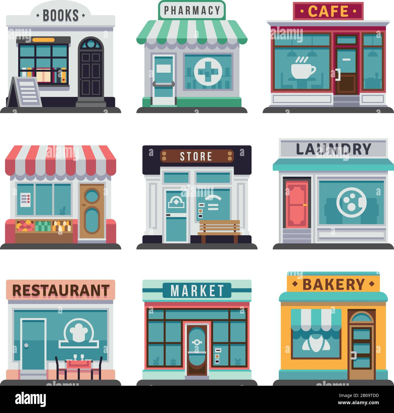 Modern Fast Food Restaurant And Shop Buildings Store Facades Boutiques With Showcase Flat Icons Exterior Market And Restaurant Illustration Of Exterior Facade Store Building Stock Vector Image Art Alamy