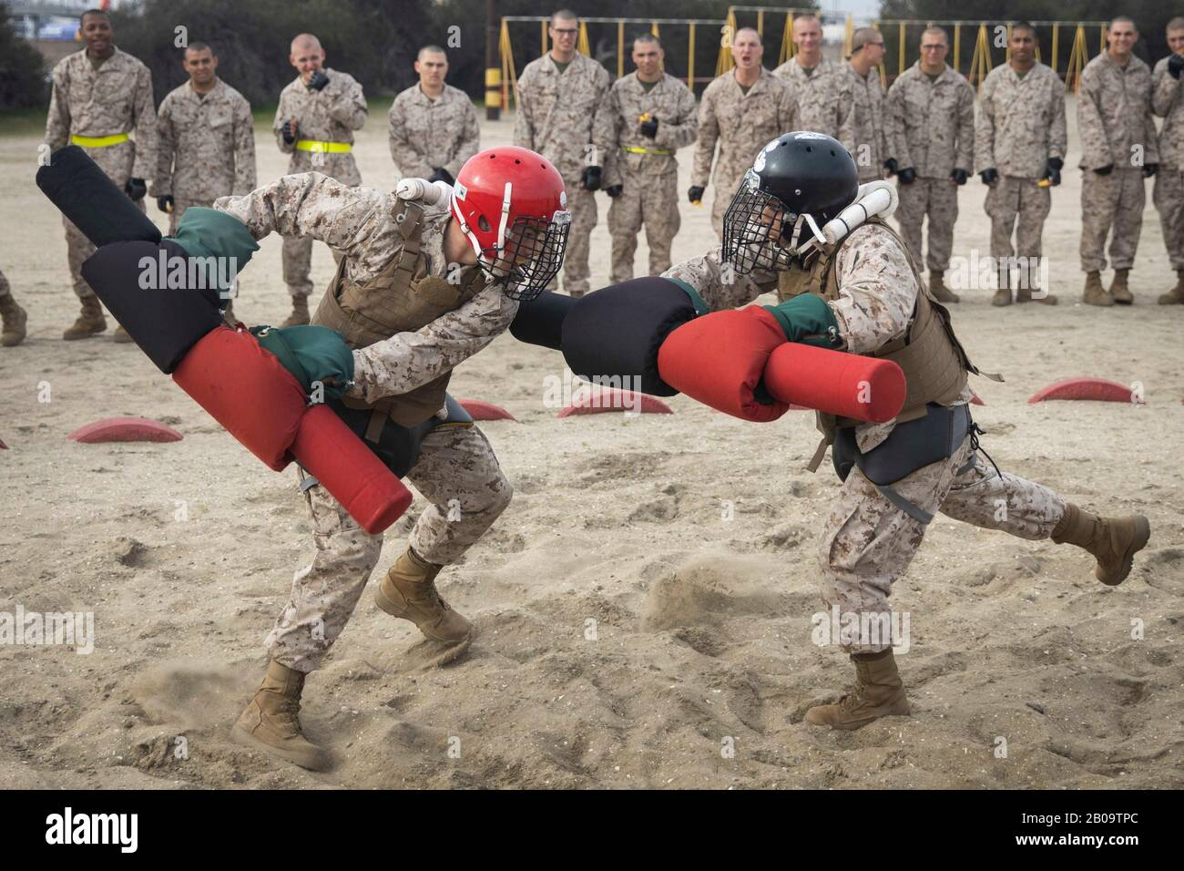 U.S. Marine Corps recruits with Delta Company, 1st Recruit Training Battalion, participate in Pugil Sticks training at Marine Corps Recruit Depot February 18, 2020 in San Diego, California. Stock Photo