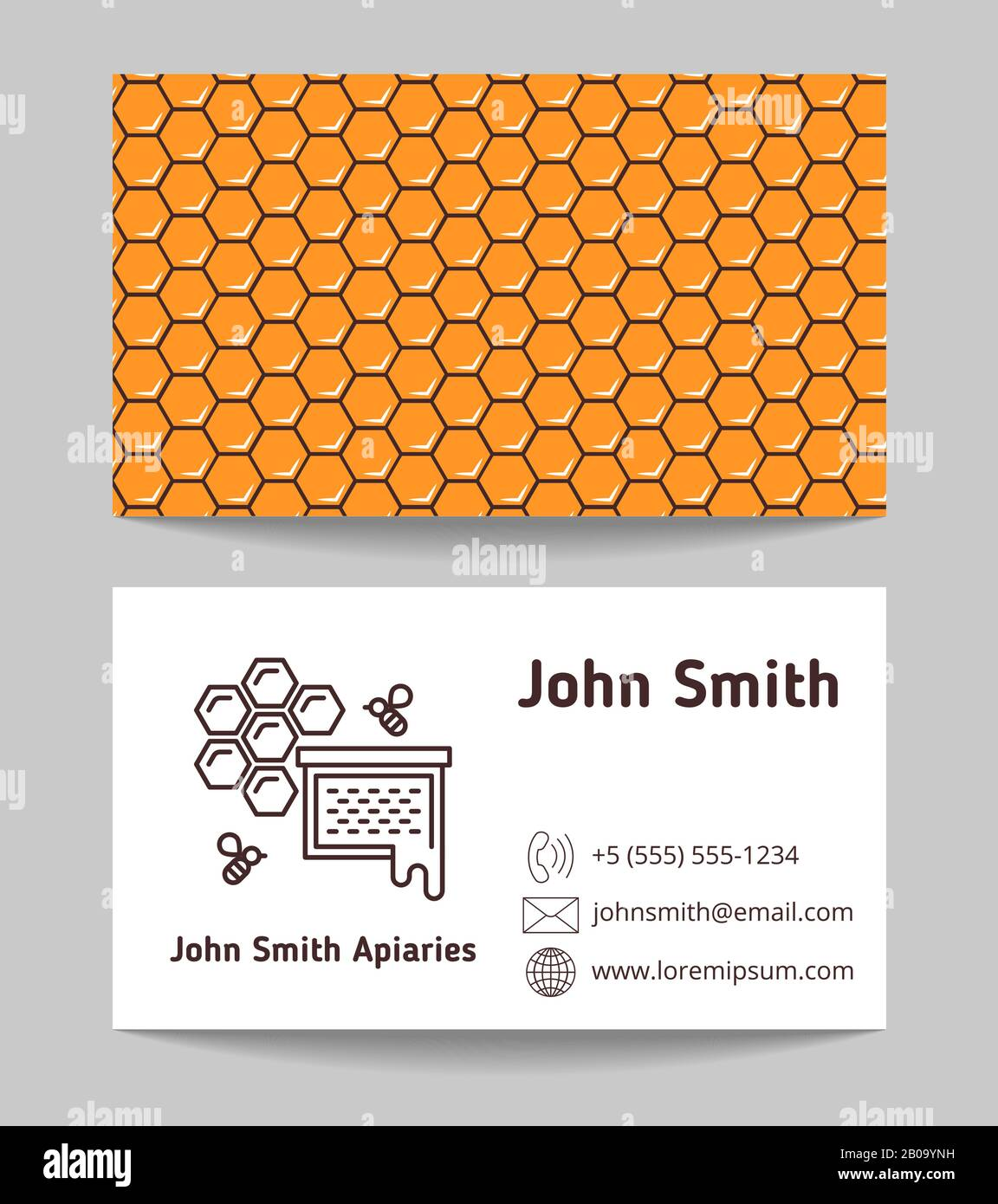 Beekeeper, natural honey maker business card. Template of card company, vector illustration Stock Vector